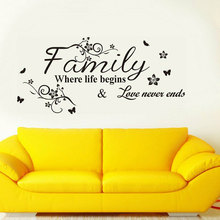 Letter Family Wallpaper Wall Stickers Where Life Beging Love Never Ends Removable Art Vinyl Mural Home Room Decor 3Q20