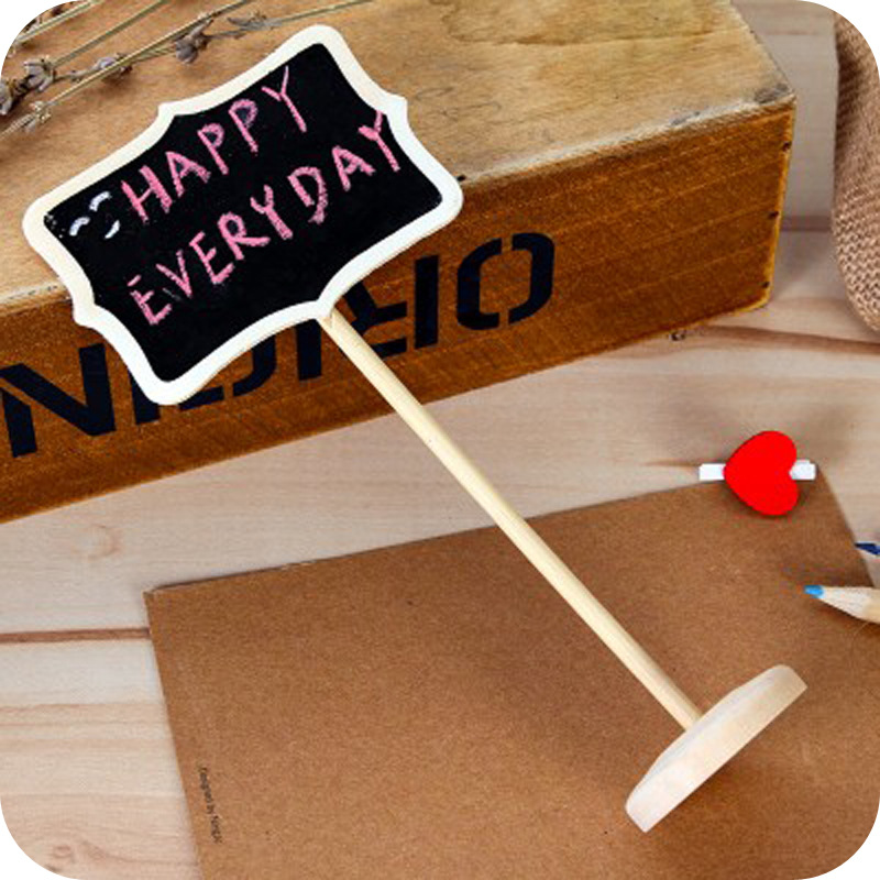 Mini Wooden Stand Blackboard Wedding Chalkboard Writing Notice Message Paint Wood Board