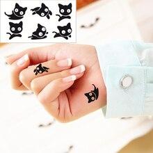 25 Style Mini Temporary Tattoo Body Art, Black Cat Designs, Flash Tattoo Sticker Keep 3-5 Days Waterproof 10.5x6cm