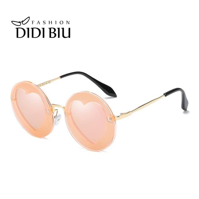 6e64a4a688 DIDI Kids Polarized Round Heart Shaped Sunglasses Girls Boys Personality  Glasses Baby UV400 Coating Shades Eyewear Oculos CN882