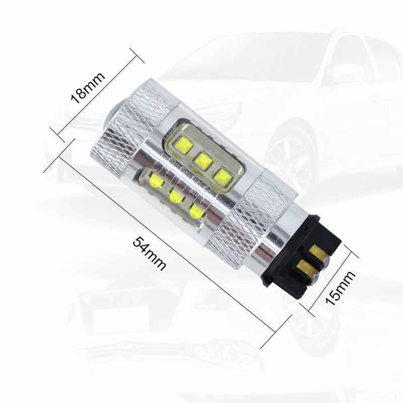 2x Amber Kuning Putih 80W Canbus PW24W PWY24W LED Lampu untuk Audi A3 A4 A5 Q3 VW MK7 Golf CC Fusion Depan Lampu Sein