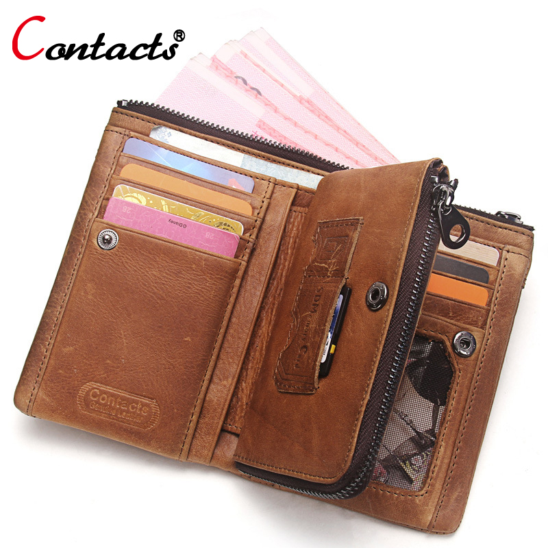 CONTACT'S Genuine leather Men Wallet Male Purse Small Wallet Money Credit Card Holder Coin Purse Change Clutch Organizer Walet document for passport badge credit business card holder fashion men wallet male purse coin perse walet cuzdan vallet money bag