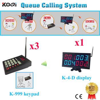 Wireless Queue Calling System Long Distance 3pcs Keyboard For Chef And 1 display Receiver Showing Queue Number For Customer