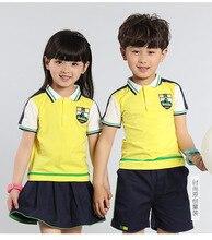 Мальчики и девочки Летом Новый Детский Сад Начальная Школа Униформа Костюмы Показать Дети Одежда Устанавливает Два Куска Желтый Черный