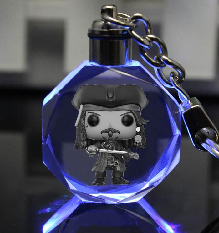Pirates of the Caribbean Colorful Crystal Frozener LED Key Chain Lighit Keychain Illuminated Keyring sleutelhanger chaveiros