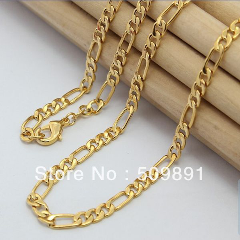 NE1526 Big Fashion Three & One 4mm Men's Chains Necklaces Jewelry 24k Gold Vacuum Plating Lead Free High Quality Bijouterie