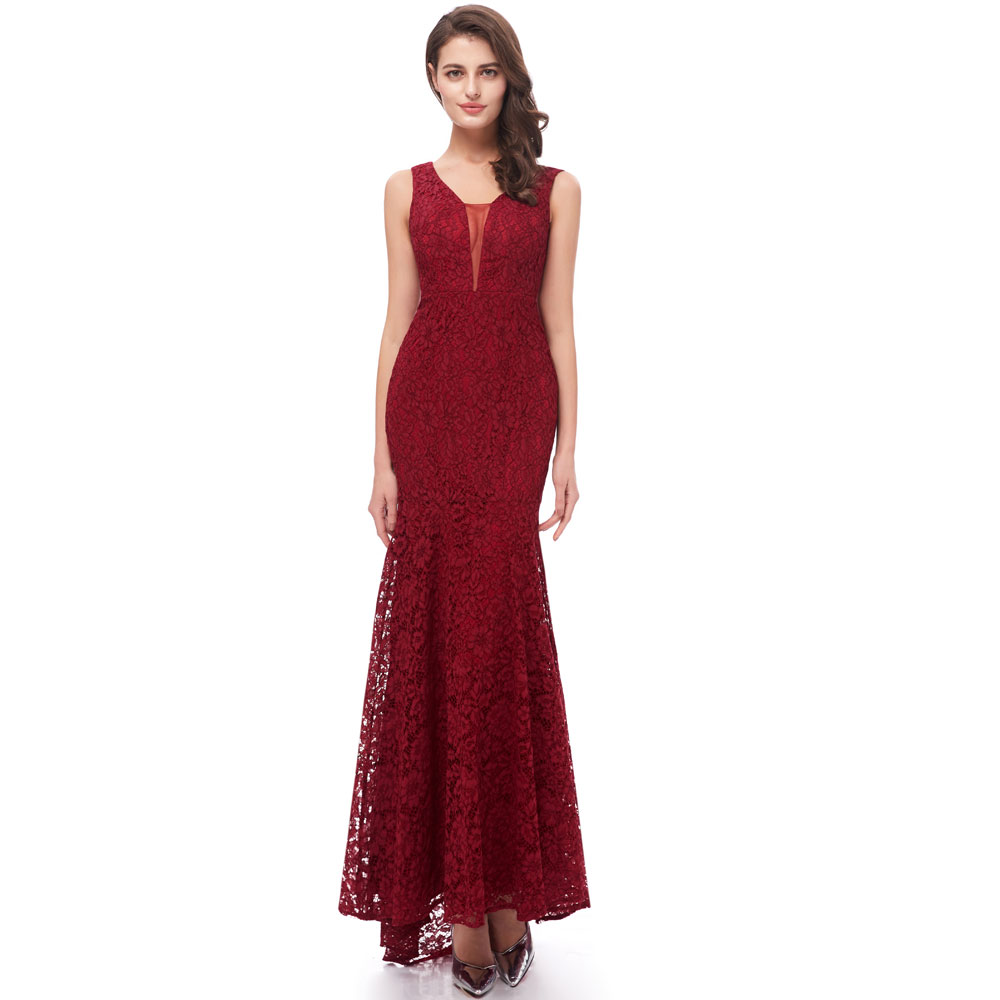 Beauty Emily Wine Red Burgundy Lace   Bridesmaid     Dresses   2019 Long for Women Mermaid Sleeveless Wedding Party Prom   Dress   for Girl