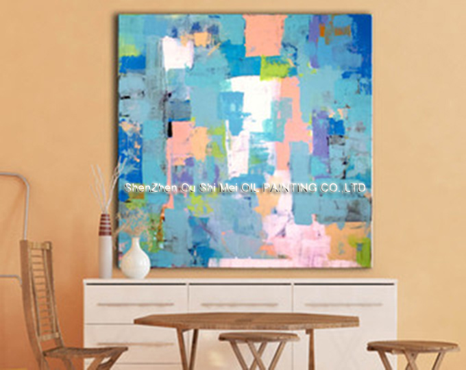 Home Decorative Poster Blue and pink Patchwork Wall Picture Canvas Oil Painting For Living Room Decor Hand Painted Oil Paintings