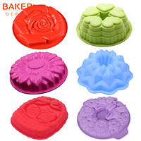 BAKER DEPOT Silicone Mold for big Cake baking Flower Crown Bread Cake Pastry Bake Form 3D large Pizza Pan bakeware DIY birthday|Cake Molds| |  -