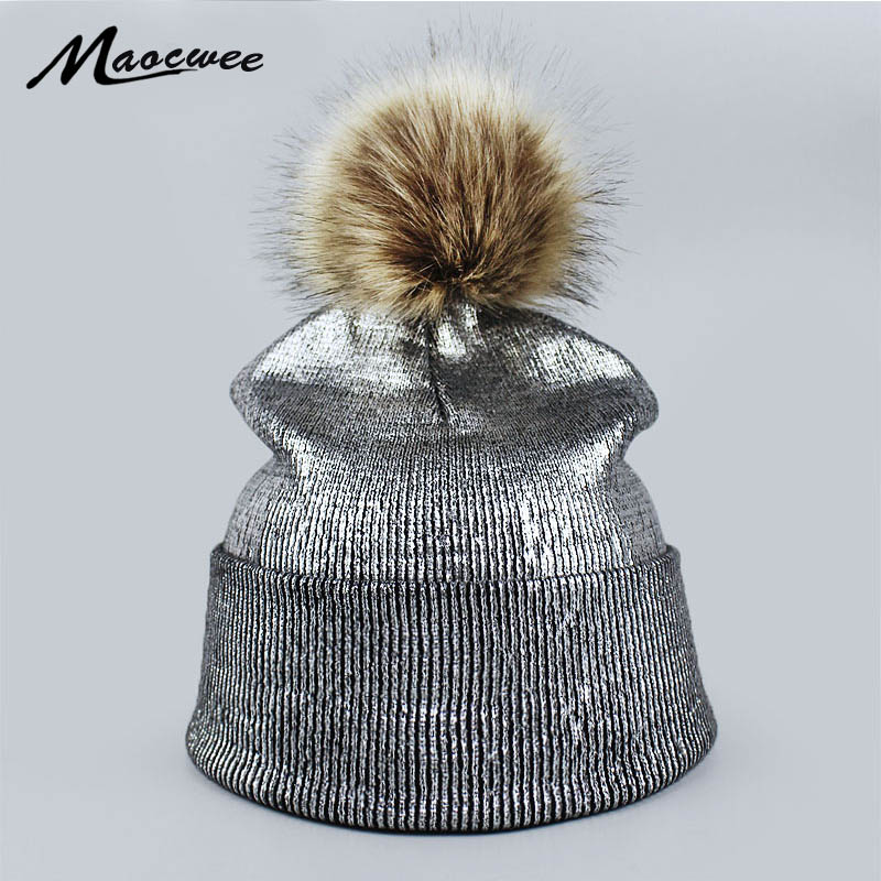 Fashion bronzing gold and silver with caps hat for women winter knitting warm hats female   skullies     beanie   Pink warm hat   Skullies