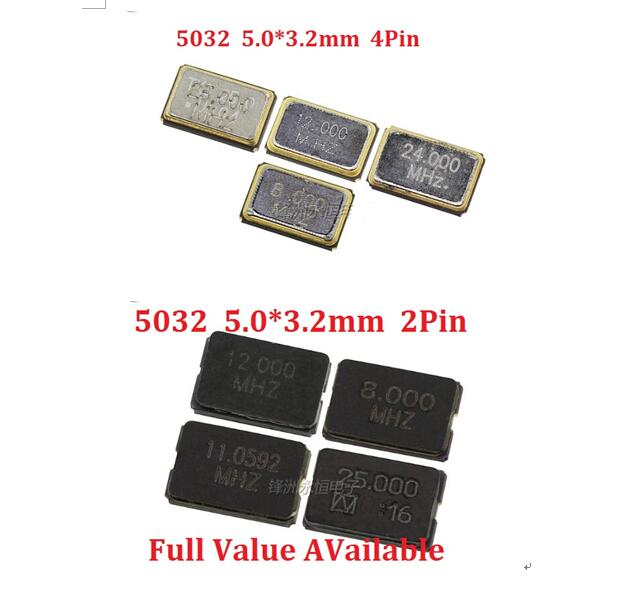 10PCS 5032 2PIN Passive Crystal Oscillator SMD 8MHZ 10MHZ 11.0592MHZ 12MHZ 16MHZ 20MHZ 24MHZ 25mhz 27mhz 4Pin 5.0X3.2mm