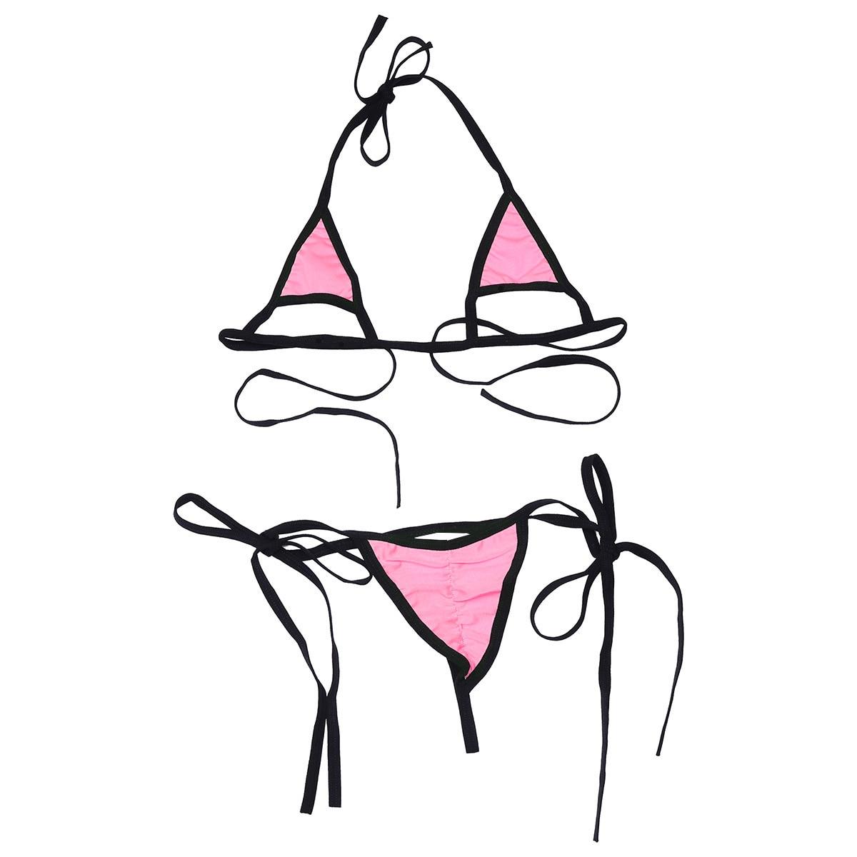 Комплект женского нижнего белья из 2 предметов, ремешки, уздечка, сексуальный популярный топ с завязками по бокам, Т-образный вырез сзади, от... 25