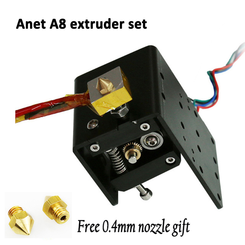 Anet a8 extruder MK8 Motor J-head Hotend +free 0.3/0.4/0.5mm Nozzle 1.75mm Filament for Reprap makerbot i3 3d printer parts heacent mk8 0 3mm nozzle 1 75mm filament extruder for makerbot reprap mendel i3 diy 3d printer