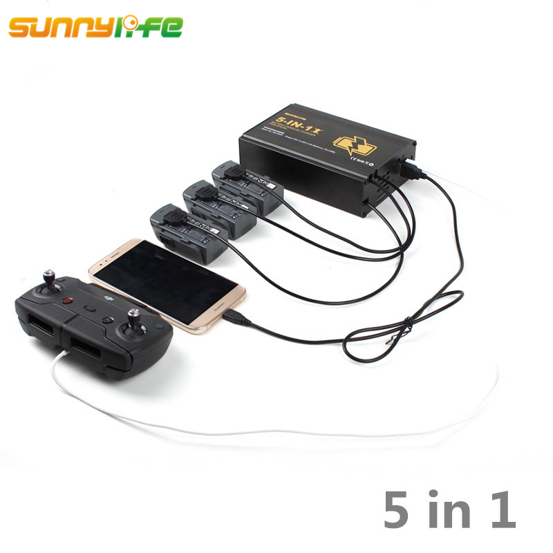 5 In 1 DJI Spark Parallel Charger Charging 3 Pcs Battery Remote Controller Ports Smartphone Dual USB Port with US / EU Plug 20a 12 24v solar regulator with remote meter for duo battery charging