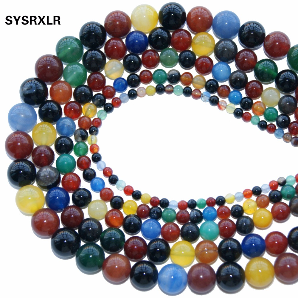 New Color Mixture Agate Colorful Natural Stone Beads Loose For Jewelry Making 4 / 6 8 10 12 MM Of Do It Yourself Bracelet