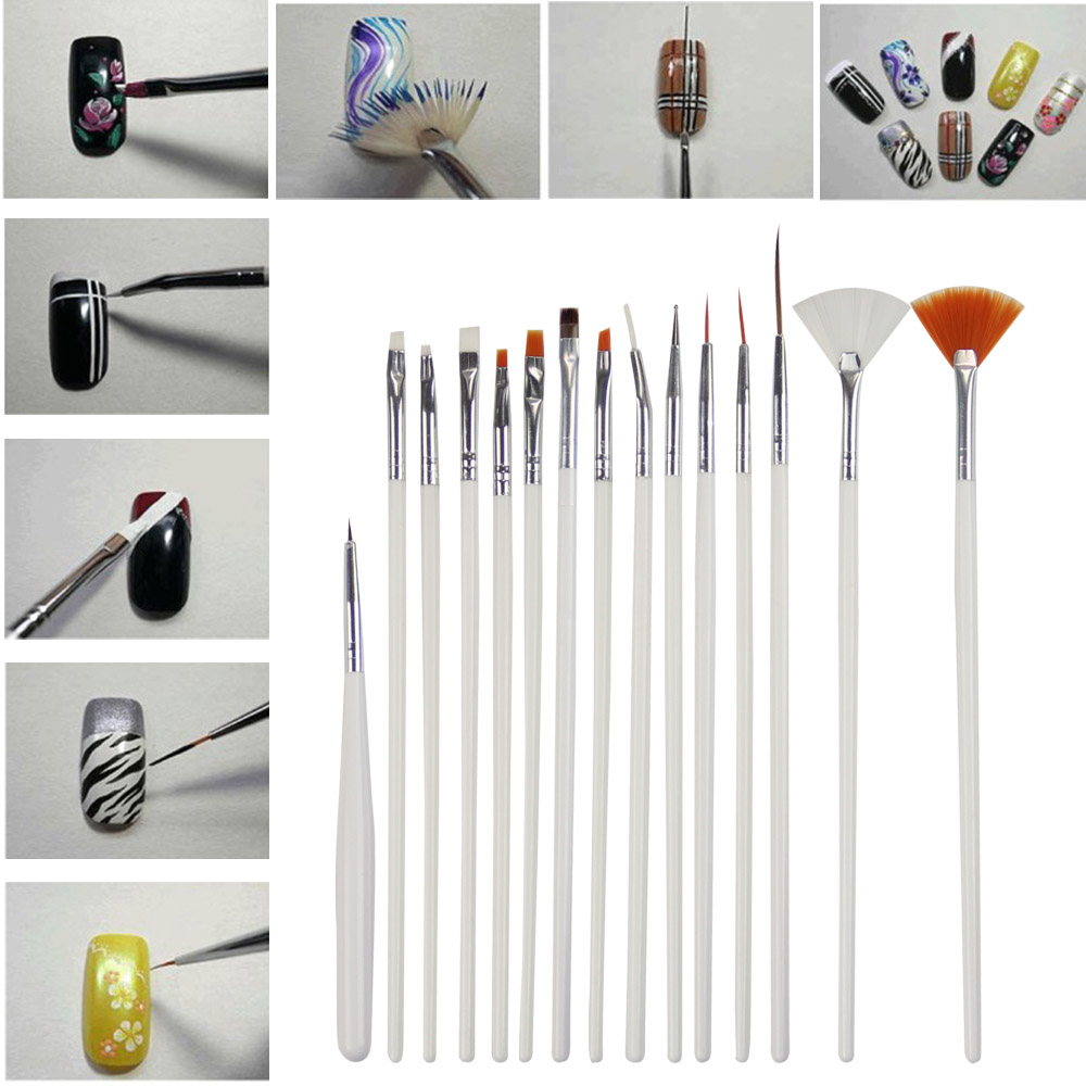 15pcs/ Set LKE Nail Art BrushesDotting Tools White Decorations Gel Painting Pen Nail Brush Nail Equipment Drawing Tool
