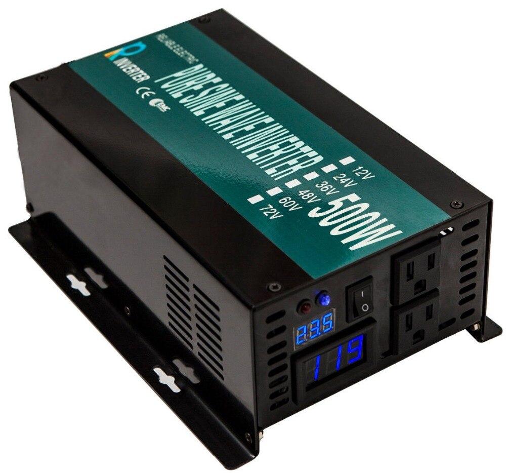 Onde sinusoïdale Pure Onduleur Solaire 500 w 24 v 220 v Voiture Onduleur Alimentation 12 v 24 v 48 v 110 v DC à 120 v 230 v 240 v AC Transformateur