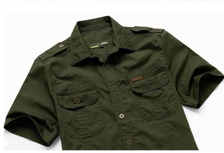 Plus Size xxxxxl Summer Men\'s 100% Cotton Shirts Solid Color Fitness Dress Short Sleeve Shirts Casual Outdoor Men AFS JEEP 5001 (7)