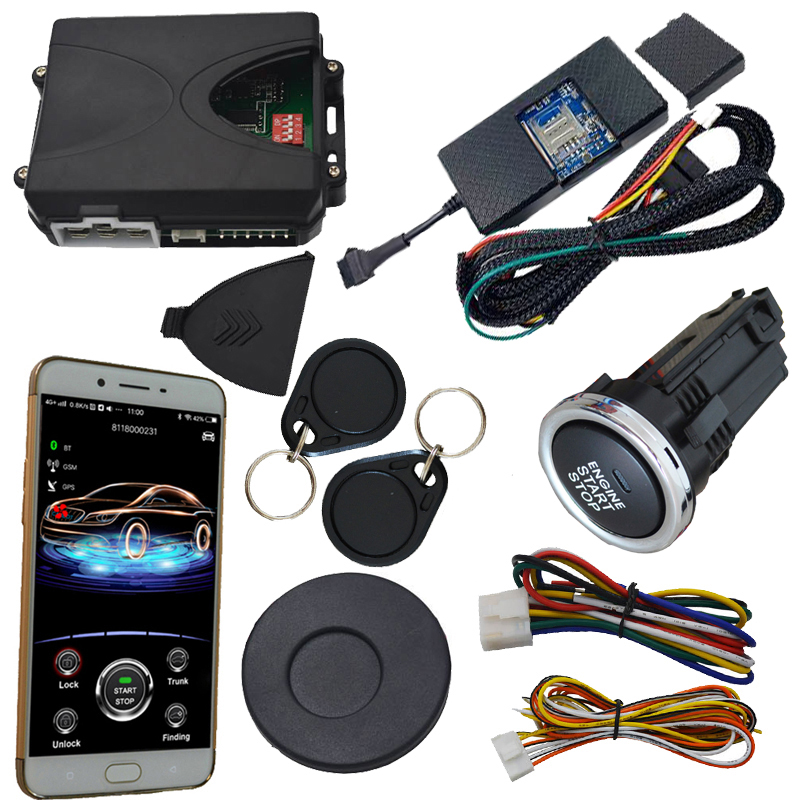 gsm gps rfid car alarm with push engine start stop button remote start stop working with