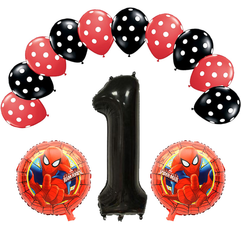 1st Birthday Mickey Mouse Spiderman foil balloons Boy for Little Man First Happy Birthday party decor Number One Ballons Globos