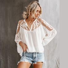 купить Women White Chiffon Mesh Lace Blouse Top Lantern Long Sleeve V neck Transparent Boho 2019 Summer Fashion Shirts kimono plus size онлайн