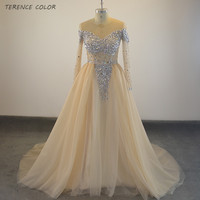 Real Sample Champagne Tulle Prom Dresses Vestidos De Beaded Formal See Through Top Long Sleeves Evening