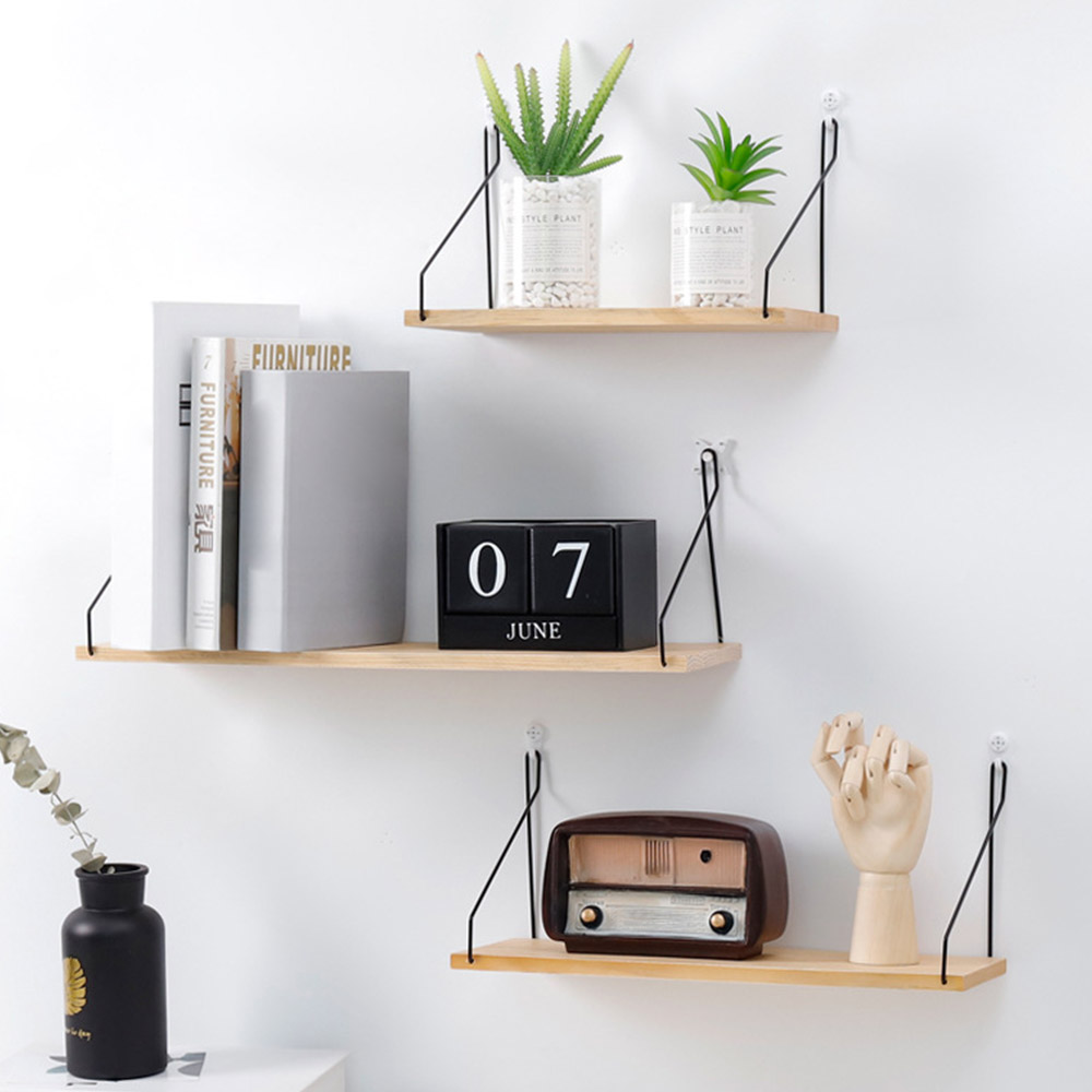 Us 4 96 20 Off Nordic Style Colorful Wood Shelves Wall Clapboard Decoration Tv Hanging Storage Children Kids Clothing Display Stand In