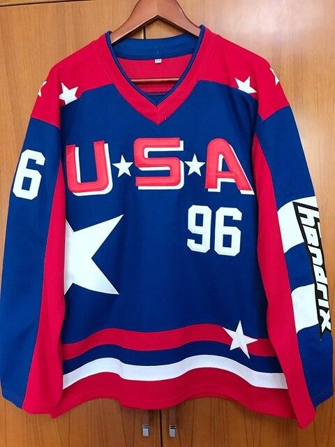 D2 EJ Mighty Ducks Movie Team USA Hokej Jersey #96 Charlie Conway Stitched Wszystko Szyte Niebieski