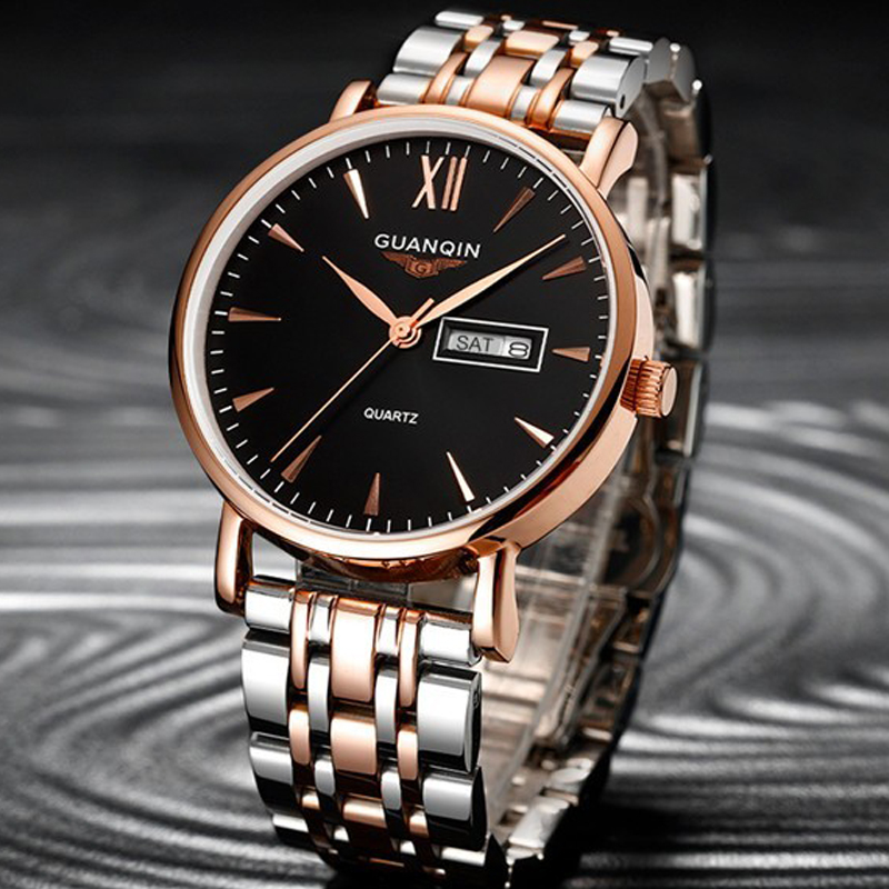 Mens Watches Top Brand Luxury GUANQIN Business Men Fashion Quartz Watch Gold Stainless Steel Strap Wristwatch relogio masculino didun mens watches top brand luxury watches men steel quartz brand watches men business watch luminous wristwatch water resist