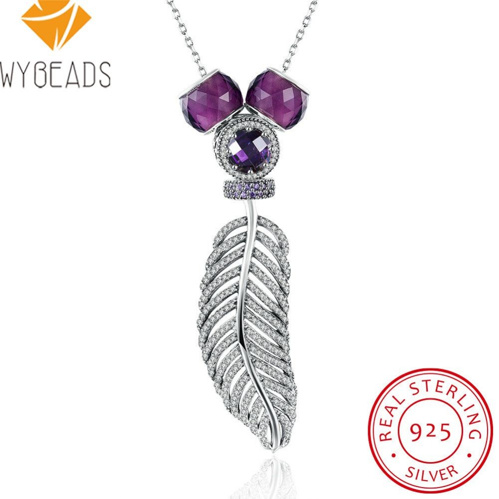 WYBEADS 925 Sterling Silver Feather Pendant Necklaces Clear CZ Murano Bead Fit Women Luxury Fine Sterling-Silver-Jewelry