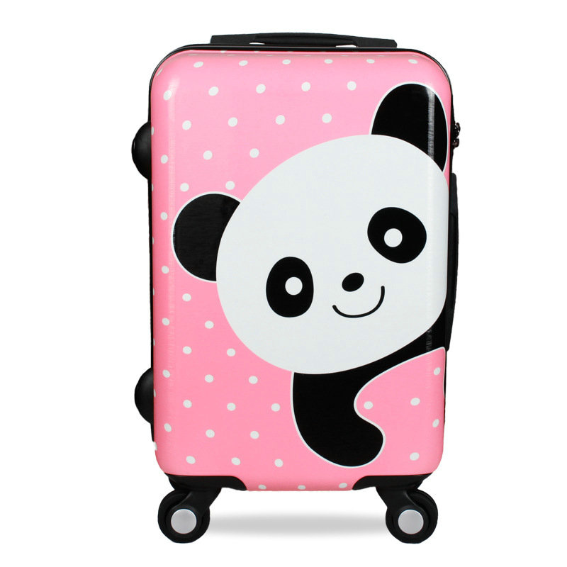 Girls Cartoon Panda Trolley Luggage 20 24 Women Travel Suitcase Scratch Resistant PC Mute Wheel Luggage