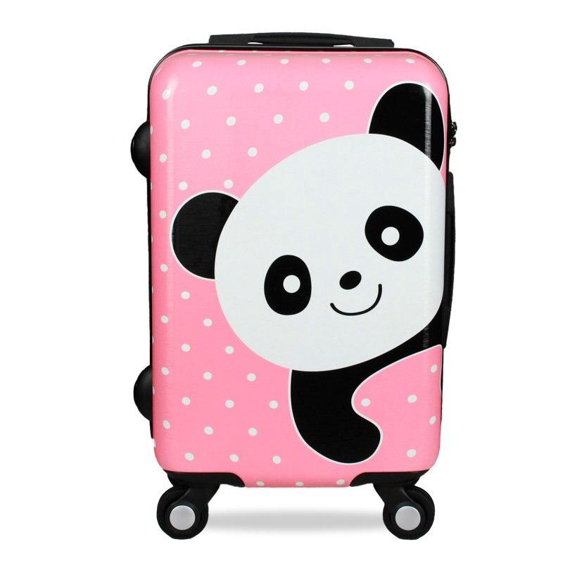 Girls Cartoon Panda Trolley Luggage 20 24 Women Travel Suitcase Scratch-Resistant PC Mute Wheel Luggage vintage suitcase 20 26 pu leather travel suitcase scratch resistant rolling luggage bags suitcase with tsa lock