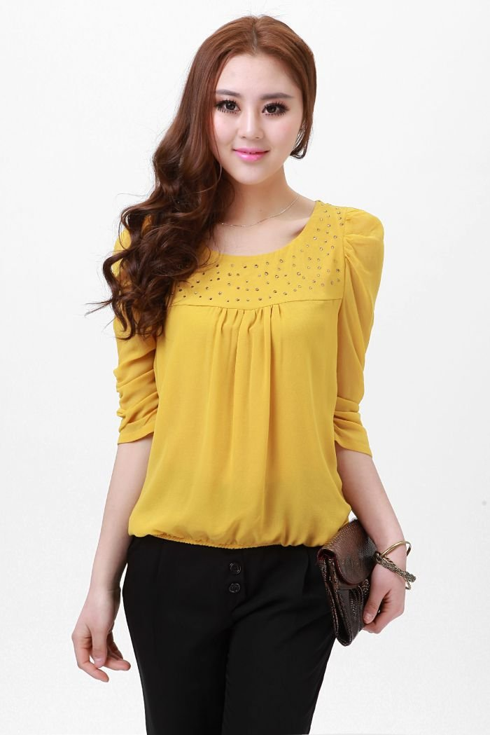 Women's Yellow Crystal blouse/lovely shirt/princess blouse ...