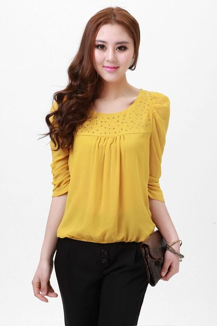 Women S Yellow Crystal Blouse Lovely Shirt Princess Blouse