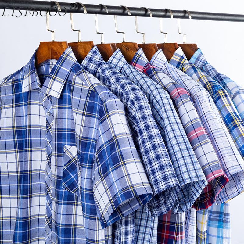 LISIBOOO New Fashion Spring And Summer Mens Short Sleeve Shirt Slim Flt Men Casual Business Dress Shirt Male Plaid
