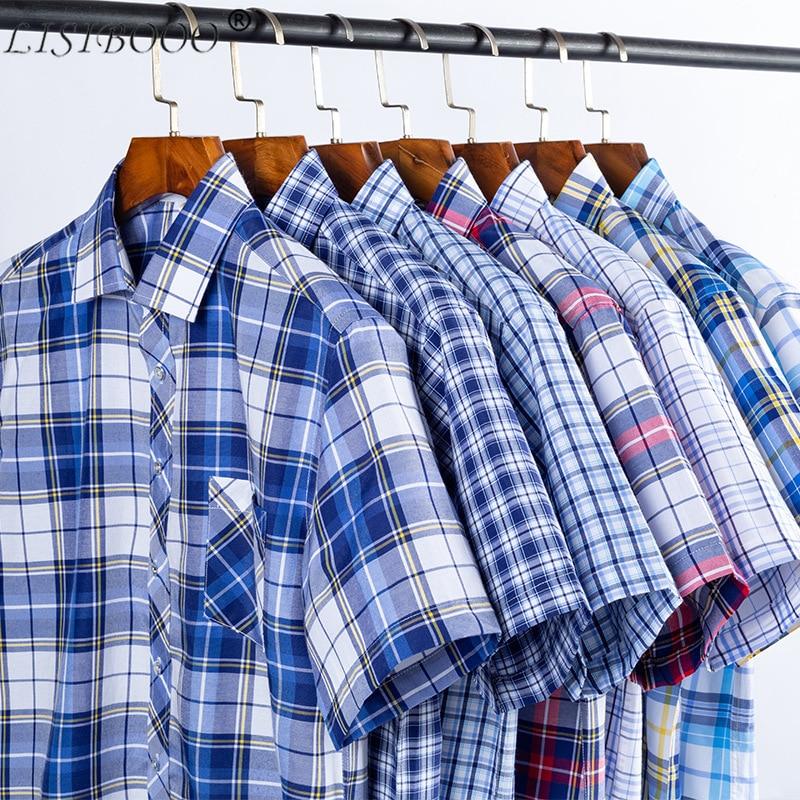 LISIBOOO New Fashion Spring And Summer Mens Short Sleeve Shirt Slim Flt Men Casual Business Dress Shirt Male Plaid