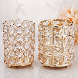 Image 2 - European Style Crystal Pencil Pen Holder Office Desk Cosmetic Makeup Brush Holder Eyebrow Eyeliner Container Gold Organizer