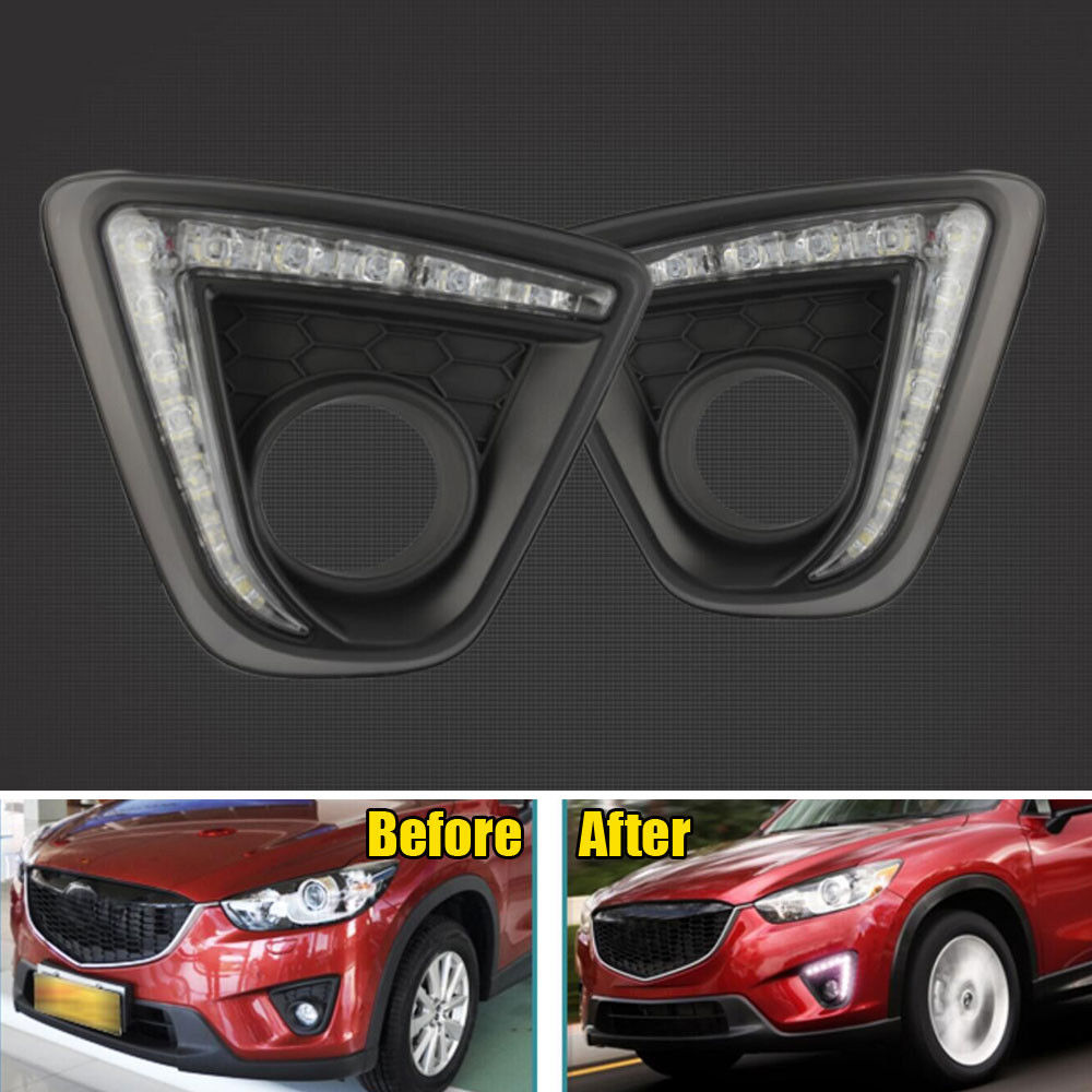 2x DRL White LED Light Daytime Running Lights Fog Lamp Exterior Fit For Mazda CX 5 2013 2014 Accessories Car Styling