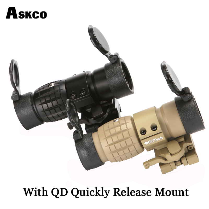 Askco QD Quickly Mount 3X Magnifier Scope Compact Hunting Riflescope Sights With Flip Up Cover Fit For 20mm Rifle Gun Rail MountAskco QD Quickly Mount 3X Magnifier Scope Compact Hunting Riflescope Sights With Flip Up Cover Fit For 20mm Rifle Gun Rail Mount