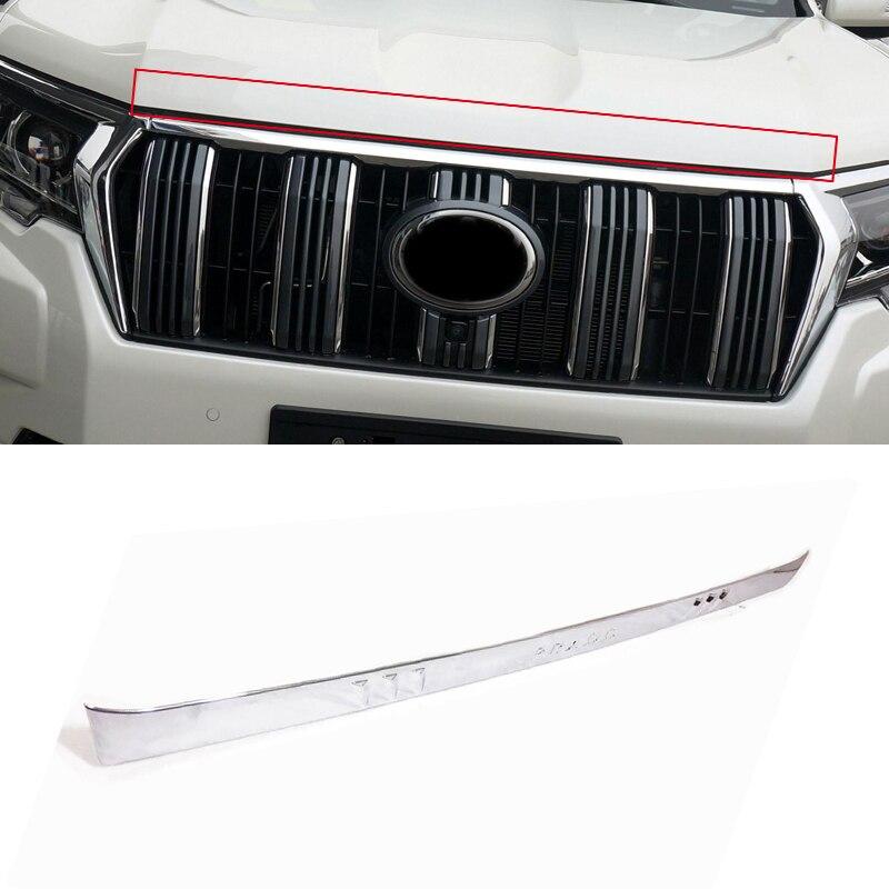 Pour Toyota Land Cruiser Prado FJ150 2018ABS Chrome accessoires extérieurs avant moteur capot couverture bande garniture voiture style