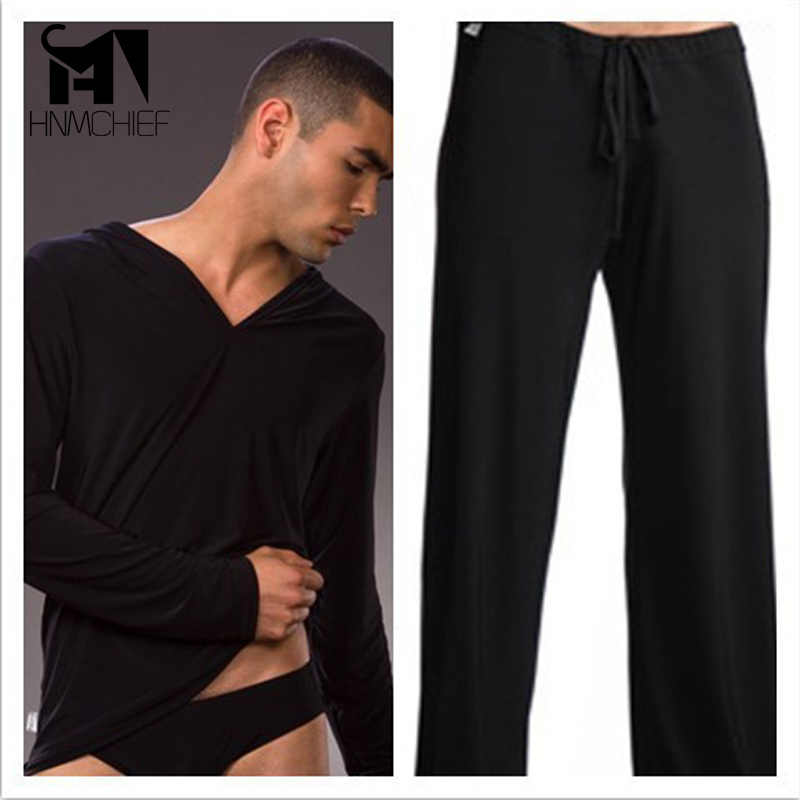 94e2313259 ... Sleep Bottoms Men s casual trousers Soft comfortable brand-clothing  Sexy male pajamas Mens Lacing pants ...