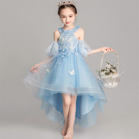 Baby Infant Gorgeous Appliques Flowers Birthday Wedding Party Princess Mesh Dress Kids Little Girls Piano Costumes Tail Dress