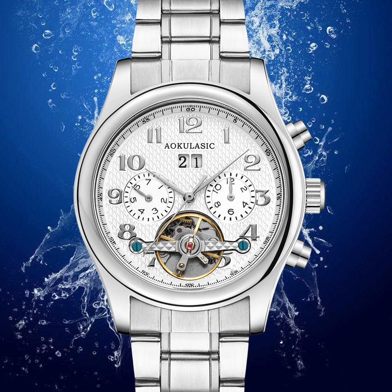 AOKULASIC Mens New Fashion Luxury Brand Silver Full Steel Tourbillon Waterproof Mechanical Automatic Watch Men Sport Watch AK12AOKULASIC Mens New Fashion Luxury Brand Silver Full Steel Tourbillon Waterproof Mechanical Automatic Watch Men Sport Watch AK12