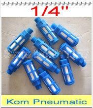 """100 قطعة/الوحدة شحن مجاني الهوائية 1/4 """"الموضوع البلاستيك العادم كاتم للصوت ، صمام الهواء فلتر الضوضاء المخفض ، أزرق اللون"""