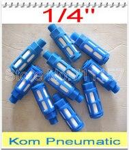 """100pcs/lot miễn phí vận chuyển khí nén 1/4"""" chủ đề nhựa Pô muffler, van khí lọc tiếng ồn giảm tốc, màu xanh"""