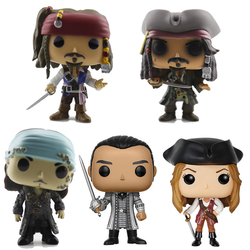 New Captain Of The Caribbean CAPTAIN JACK SPARROW SWANN TURNER Action Figure Bobble Head Q Edition For Car Decoration Model Toys