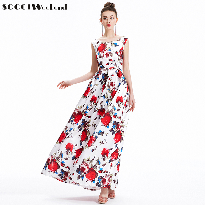 SOCCI Weekend Elegant Long Evening Dresses 2017 Printing Flowers Boat Neck Formal Prom Dress with Bow Sashes vestidos de festa