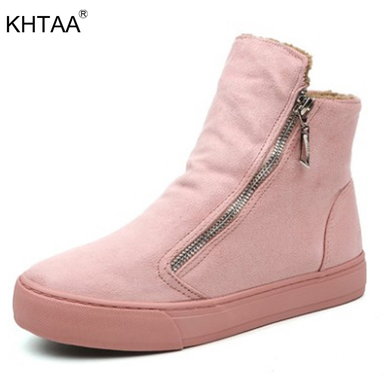 KHTAA Women's Winter Warm Plush Zip Ankle Snow Boots Female Suede Fur Flat Solid Platform Slip On Black Comfortable Shoes fashion women ankle boots suede tassels snow boots female warm plush bowtie fur rubber flat silp on platform black shoes casual