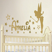 Free Shipping PERSONALISED TINKERBELL Pixie Fairy Custom Name Baby Girl Wall Art Sticker Decal