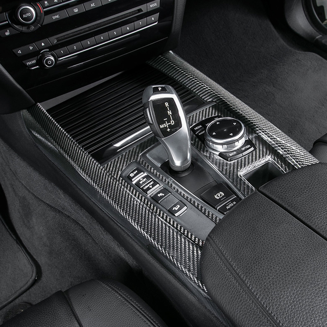 100 carbon fiber interior gear shift knob panel trim cover 3pcs fit for bmw x5 f15 2014 2017 in